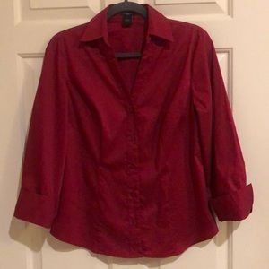 Magenta button-down blouse